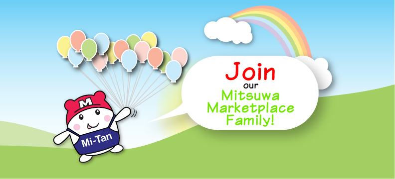 "Mi-tan, Mitsuwa's mascot holding balloons says ""Join our Mitsuwa Marketplace family!"""