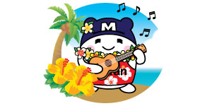 Mi-tan, Mitsuwa's mascot holding ukulele singing at the beach